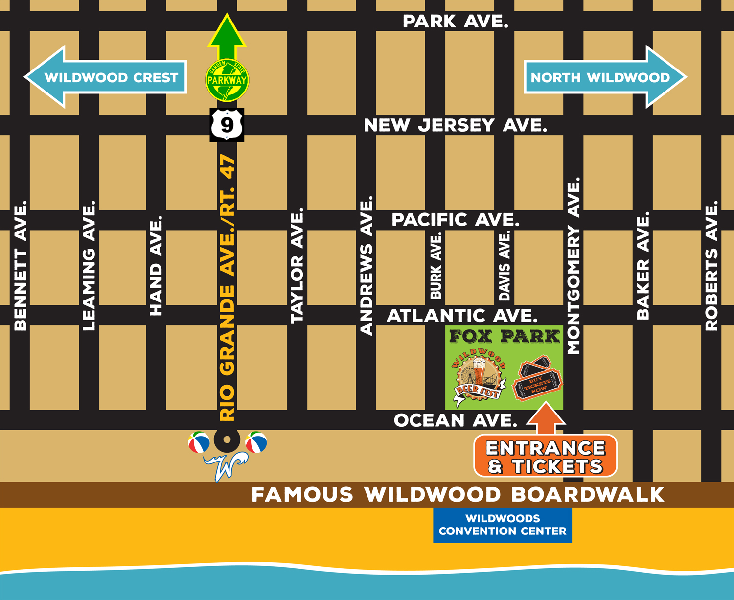 Map Of Wildwood Nj Streets Contact Wildwood Beer Fest | Fox Park   New JerseyWildwood Beer